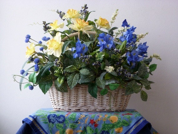 Whitewashed Willow Basket French Country Blue Iris Yellow