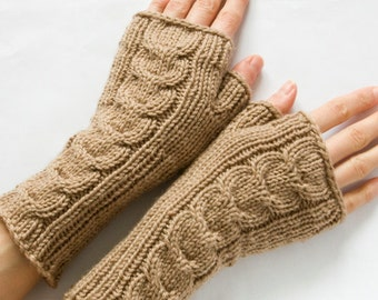 100% Merino Long Cabled Fingerless Mittens, Coffee Fingerless Gloves, Knit Hand Warmers, Light Brown Arm Warmers