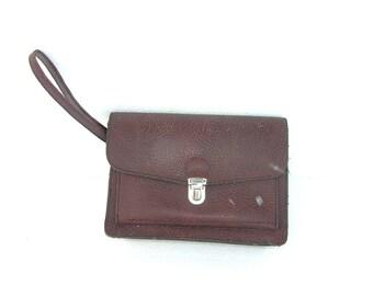 Mens Wristlet Wrist Bag Soviet Vintage Bag Dark Brown Vintage Retro Wristlet Large Wallet 70s Soviet Union USSR