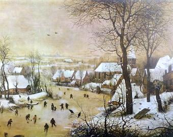 Winter Landscape by Flemish Artist Pieter Brueghel, the Elder Vintage Art Print, 1966