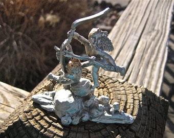 LAST CHANCE Vintage Pewter Cupid Figurine