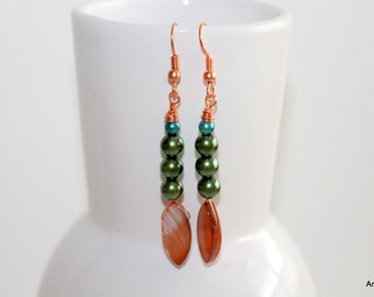 Copper and green pearl earrings.