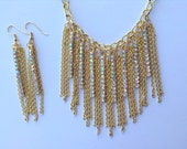 Gold Fringe Statement Necklace-Bib-Bold-One of a Kind-Hand Made-Designs by Stalinda