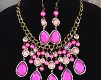 Pink Statement Necklace-Chunky-Bib-Prom-One of a Kind-Hand Made-Designs by Stalinda