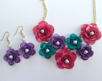 Flower Statement Necklace-Cluster Necklace-Metal-One of a Kind-Hand Made-Designs by Stalinda