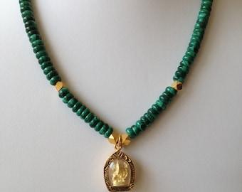 Malachite and Gold Ganesh Necklace /  Ganesha Necklace