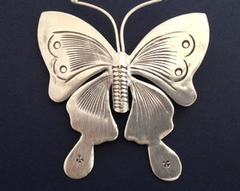 HT-76 Thai Hill Tribe Silver Butterfly