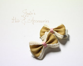 Baby girl hair clips - golden brown bow