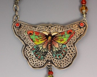 Butterfly Necklace, Vintage Butterfly-Print Necklace, RP0302NK