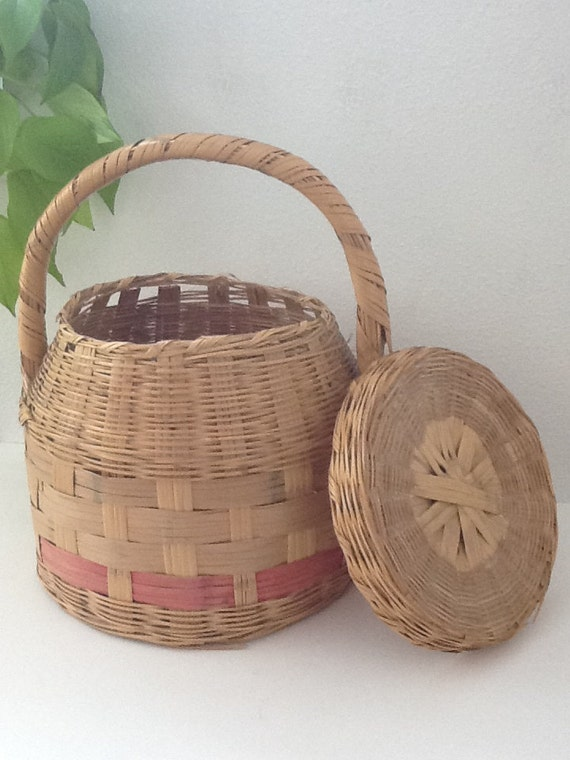 Vintage Covered Easter Basket Covered Wicker by ...