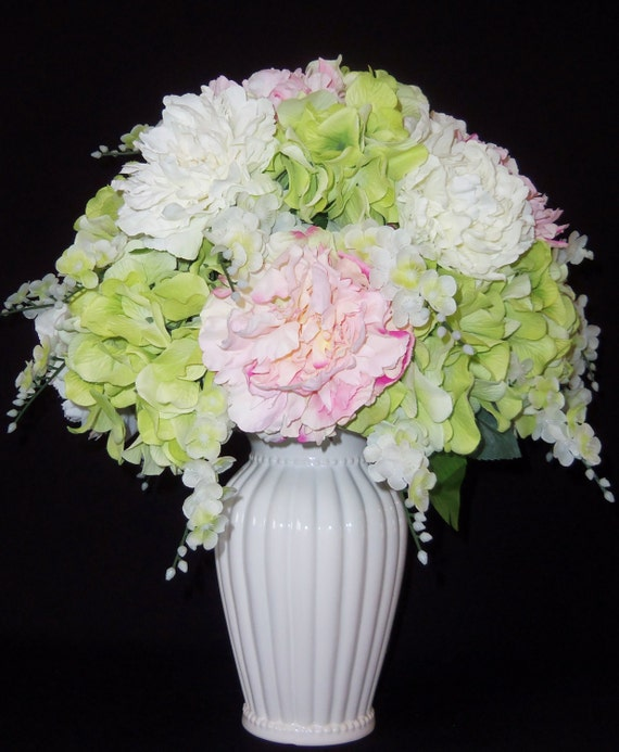 Artificial Flowers White Pink Green By Beautyeverlasting