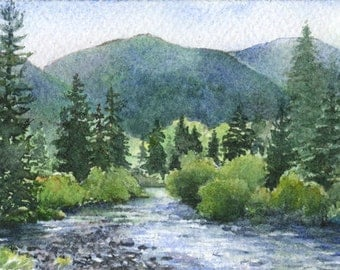 ACEO Giclee print from watercolor painting of Colorado stream, miniature art by Cinda Serafin, nature landscape Limited Edition Print