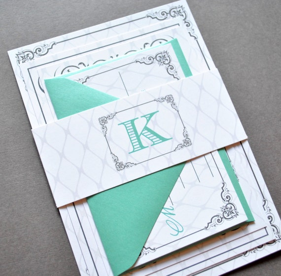Items Similar To Teal Wedding Invitations Monogram