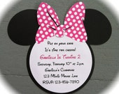 Handmade Inspired Minnie Mouse Invitations - Pink with White Polka Dots