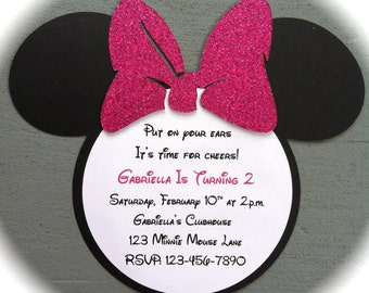 Handmade Inspired Minnie Mouse Invitations - Hot Pink Glitter Bow