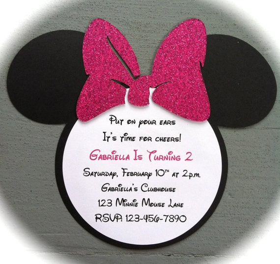 Handmade Invitations - Hot Pink Glitter Bow - Inspired Minnie Mouse Invitation