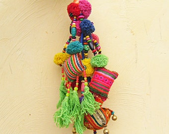Gypsy Soul Bag Charm Tribal Hmong Textile Purse Charm/Dangle with tassels Handcrafted Tribal Design Bag Charm Tassels Pom Poms Bead Decor