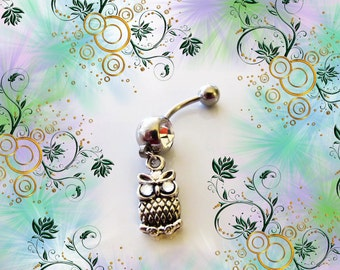 SALE-Belly Ring, Baby Mini Owl Antique Silver with Crystal Eyes, Belly Button Navel Ring, For Her 1A121