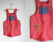 Vintage Ruby Red Southwest Overalls