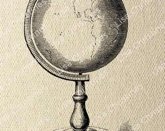 Globe Steampunk Instant Download Digital Transfer Image for Iron On / 40
