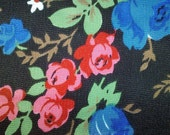 Vintage Fabric, Vintage Sewing Supplies, USSR 1970's Floral Print Fabric, red and blue flowers on a dark background