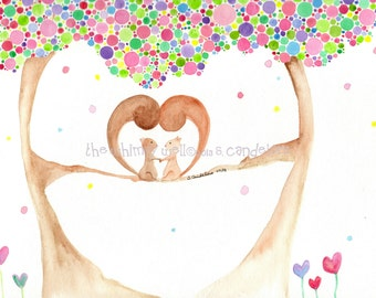 Limited Edition Original 8x10 or 9x12 Love Squirrels in Polka Dot Tree Watercolor Painting - Valentine Edition - Love Nutters