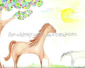 Original 9x12 Horses Grazing in the Sun with Polkadot Tree - Chasing the Sun