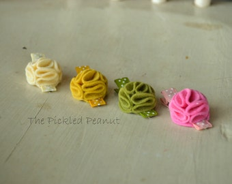 Petite Dahlia Flower hair clips - set of 4 - for girls and women, felt flowers, baby hair clip, petite, small, pink, toddler, summer