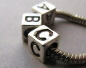 8PCs Name Charm Beads For European Bracelets Or Necklaces - Silver Alphabet Letter Cubes For European Charm Bracelets