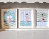 Set of 3 nautical art - summer seascape