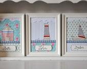 Set of 3 personalized nautical art - kids room