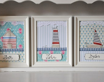 Set of 3 personalized nautical art - kids room
