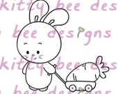 Carrot Wagon Bun Digital Stamp