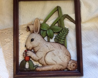 Bunny Figurine molded into a picture frame,  Rabbit wall decor, 3D, Vintage