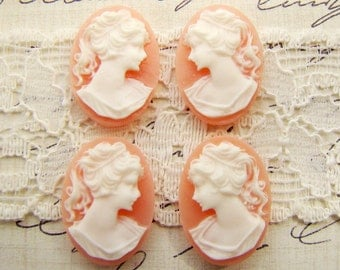 Vintage Style 18x13mm Oval Pink White Cameo Lady  Silhouette Resin Cabochon - 4