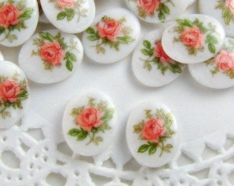 Vintage Chic Pink Rose & Green on White 10x8mm Oval Glass Cabochons - 4