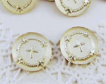 Vintage Silver Cross Glass Intaglio Cabochons 13mm - 2