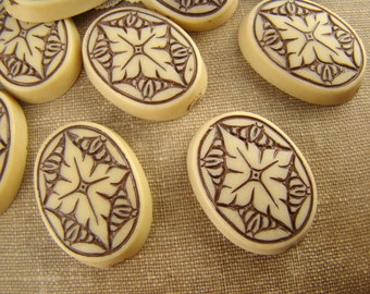 Vintage Victorian Carved Medallion Tan & Brown oval Cabochons Lucite 24x17mm - 3