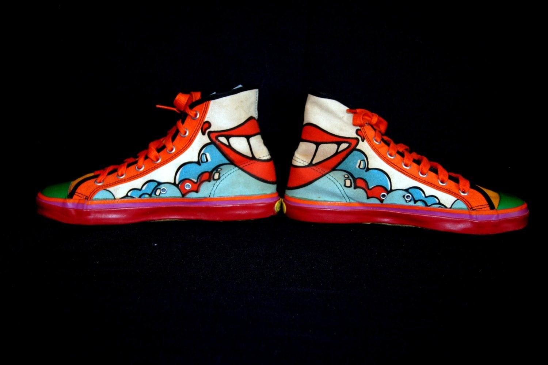 60s Peter Max Pop Art High Top Sneakers SMILE Tennis Shoes  Peter Max 60s