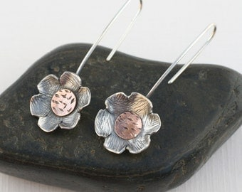 Flower earrings, Mixed metal flower earrings, Sterling copper earrings, made to order