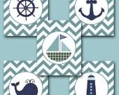 Sea Nautical Ship Baby Boy Nursery Art Nursery Wall Art Baby Nursery Kids Room Decor Kid Art Boy Print set of 5 8x10 Whale Nursery Blue Navy