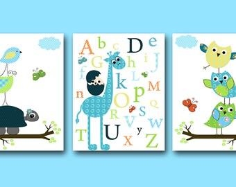 Childrens art Kids Wall Art Baby Boy Nursery Art Baby Room Decor Nursery Print set of 3 owl decor nursery alphabet giraffe blue green