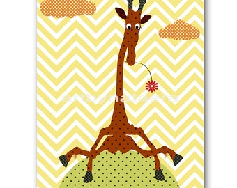Nursery art print Childrens Wall Art Baby Boy Nursery Art Baby Wall Art Kids Print Nursery Decor Boy giraffe yellow green baby art print