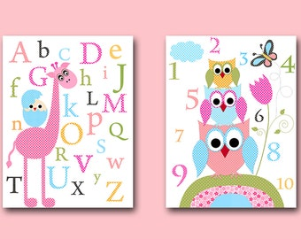Giraffe Alphabet Nursery Canvas Giraffe Owls Baby Nursery art print Childrens Wall Art Baby Room Decor Nursery Decor set of 2 pink Blue /