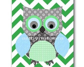 Owl Decor Owl Nursery Baby Boy Nursery Art Nursery wall art baby nursery kids room decor Kids Art Boy Print owl nursery blue gray green