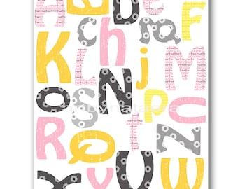 Alphabet Nursery Alphabet Baby Girl Nursery Art Nursery Wall Art Baby Nursery Print Kids Room Decor Kids Art Print Rose Gray Yellow
