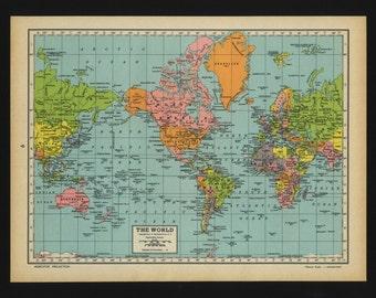 Vintage Map World From 1944 Original