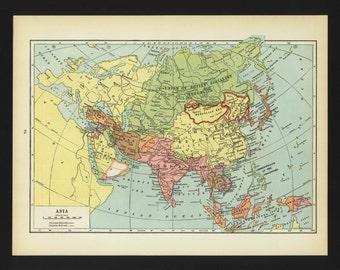 Vintage Map Asia Original 1938