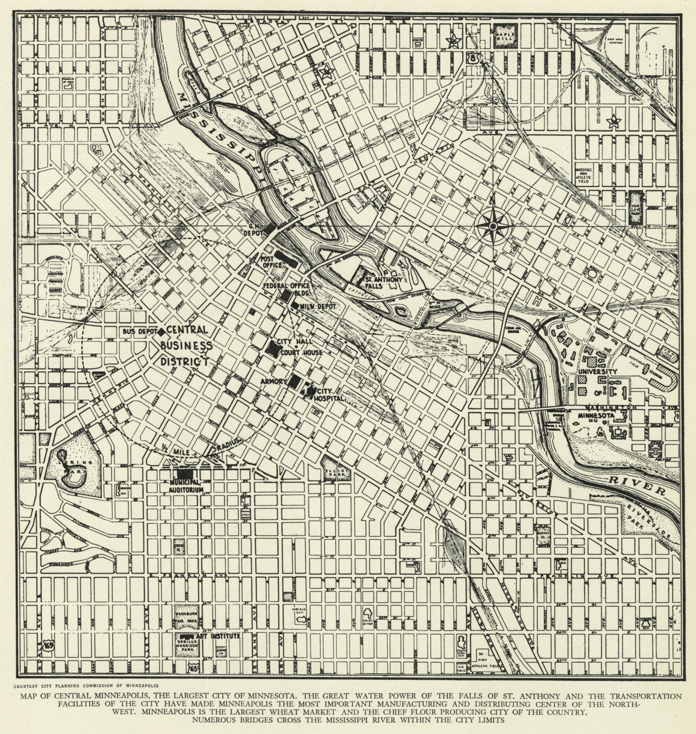 Vintage Street Map Minneapolis Minnesota From 1942 Original