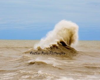 One More Wave, after effects from Superstorm Sandy upon Lake Michgan in Milwaukee, WI, Stunning Mother Nature, 8x10 fine art photo